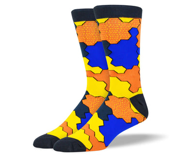 Men's Awesome Orange JigSaw Socks