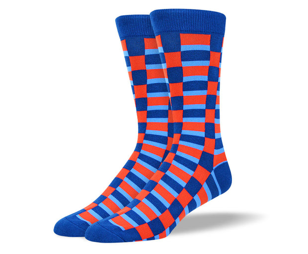 Men's Red & Blue Square Socks