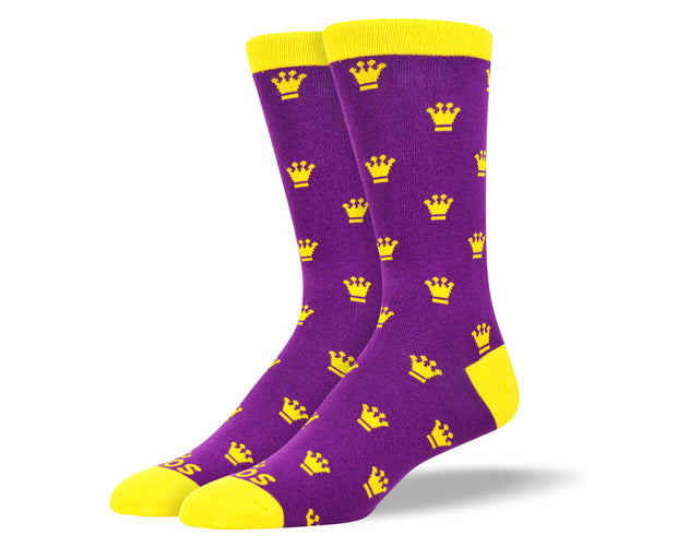 Men's Purple & Yellow Crown Socks