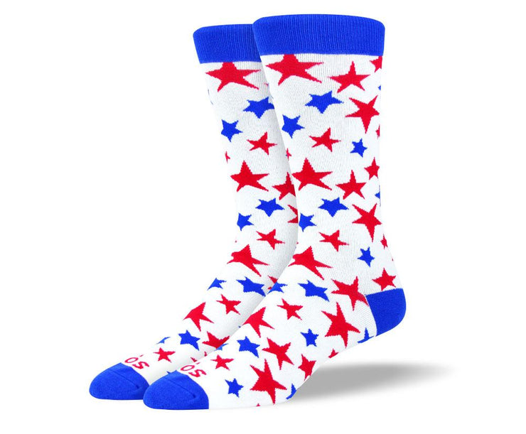 Men's Trendy Red White & Blue Stars Socks