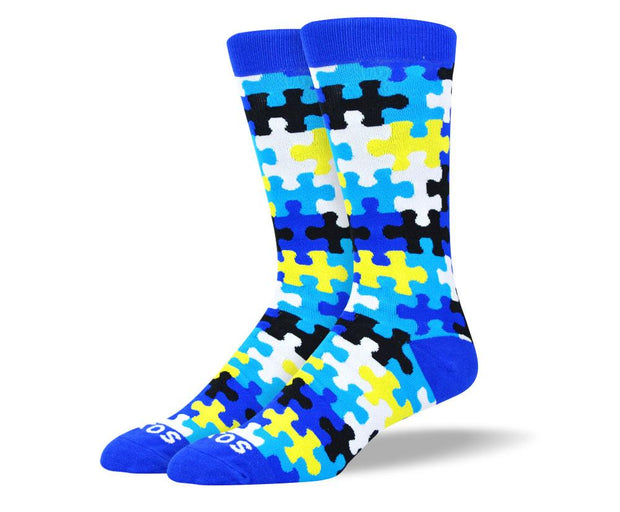 Men's Pattern Blue & Black Puzzle Socks