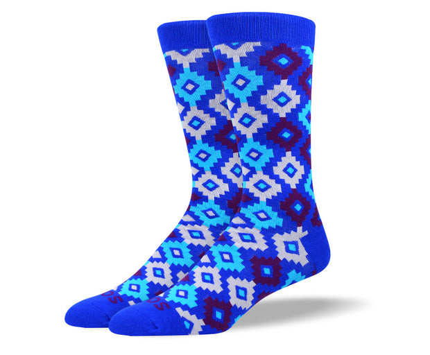 Men's Unique Blue Diamond Socks