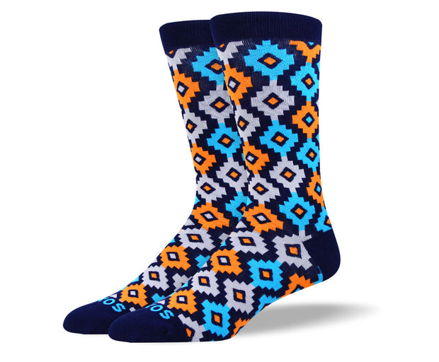 Men's Unique Orange Diamond Socks