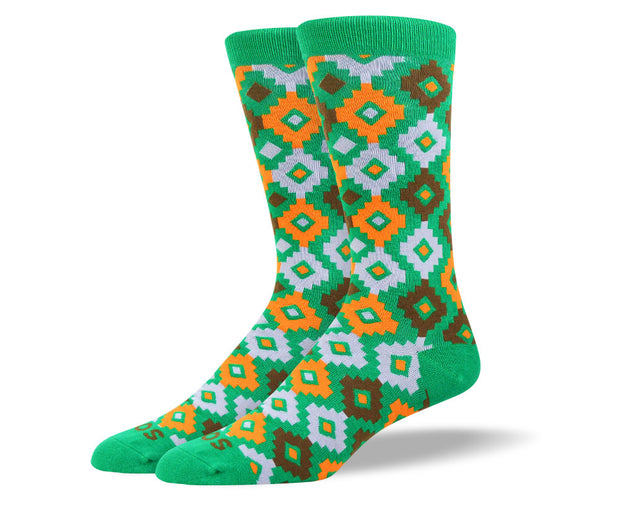 Men's Unique Green Diamond Socks