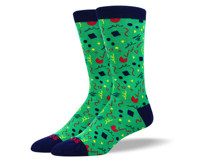 Men's Fun Green Party Socks