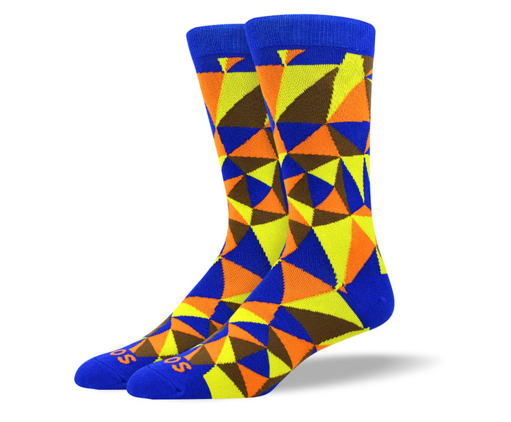 Men's Trendy Orange Mosaic Socks