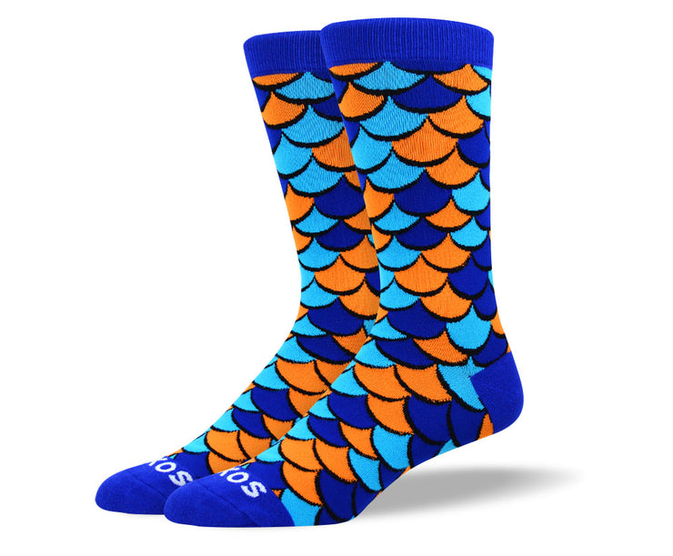 Men's Crazy Blue Scales Socks
