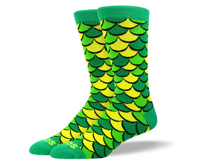 Men's Crazy Green Scales Socks