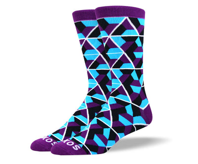 Men's Fun Blue Trapezoid Socks