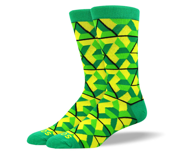 Men's Fun Green Trapezoid Socks
