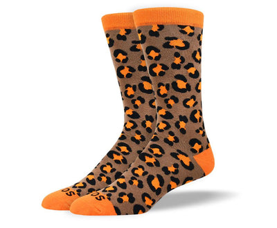 Men's Unique Orange Leopard Print Socks