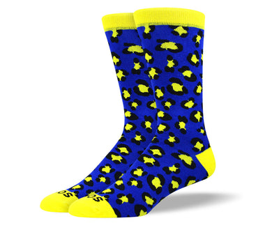 Men's Fun Blue Leopard Print Socks
