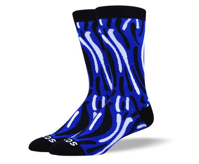 Men's Unique Dark Blue Wave Socks