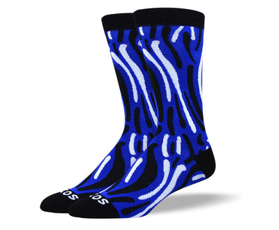 Men's Colorful Dark Blue Wave Socks