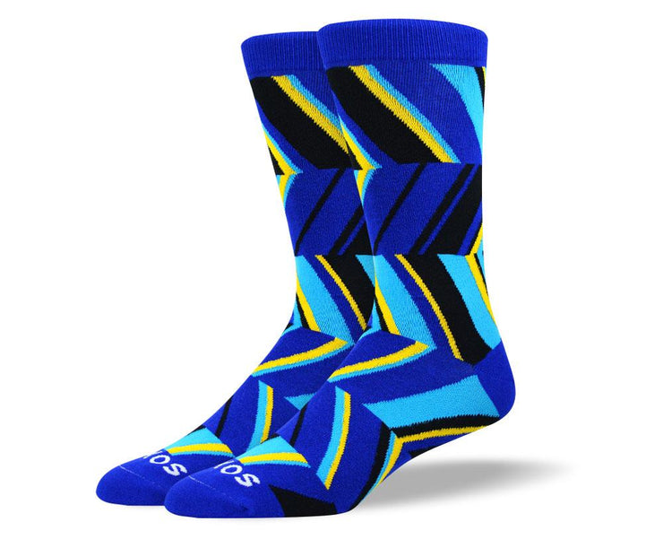 Men's Novelty Blue Zig Zag Socks