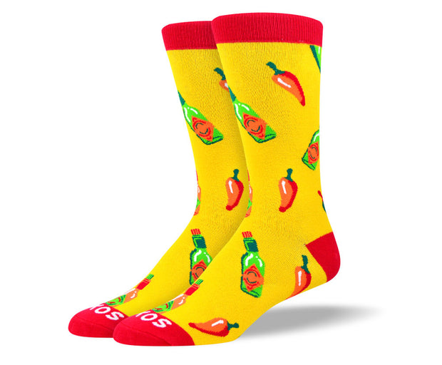 Men's Fun Yellow Hot Sauce Socks