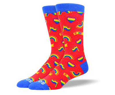 Men's Red Pride Rainbow Socks