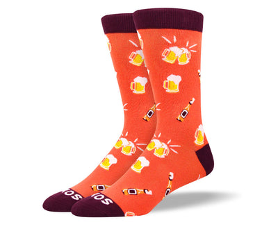 Men's Funny Orange Beer Socks