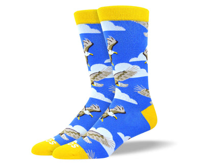 Men's Cool Blue Flying Bird Socks