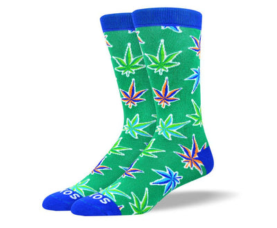 Men's Fancy New Green Weed Leaf Socks