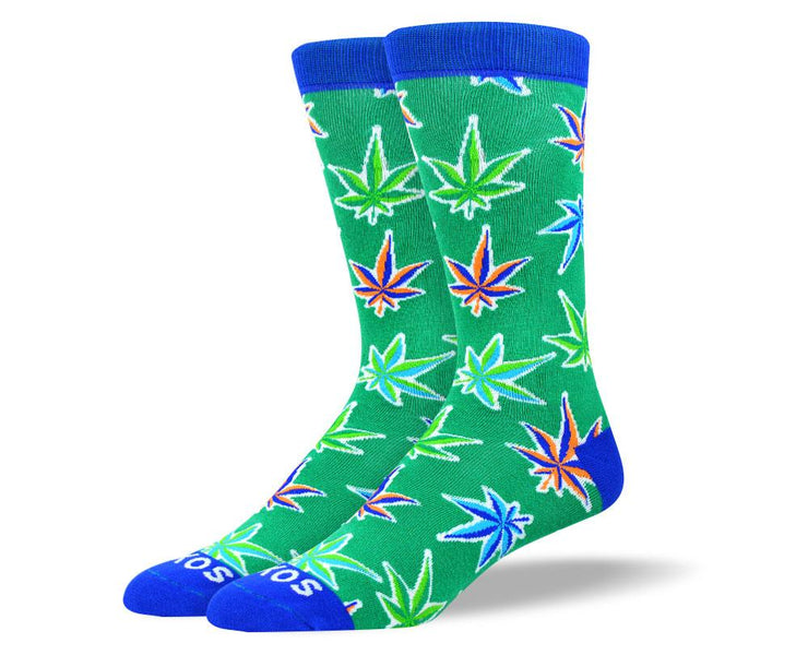 Men's Wild New Green Weed Leaf Socks