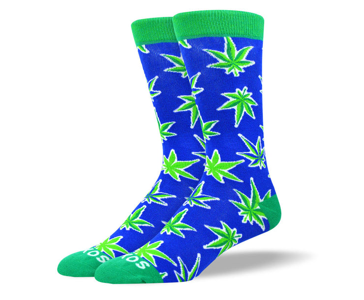 Men's Crazy Blue Weed Leaf Socks