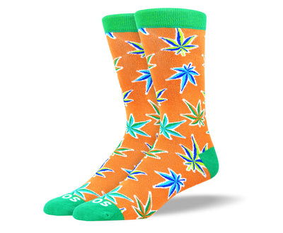 Men's Fun Orange Weed Leaf Socks
