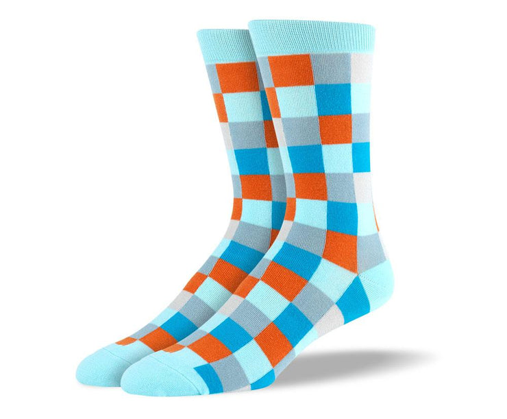 Men's Fashion Light Blue Big Square Socks