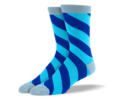 Men's Blue Diagonal Stripes Socks