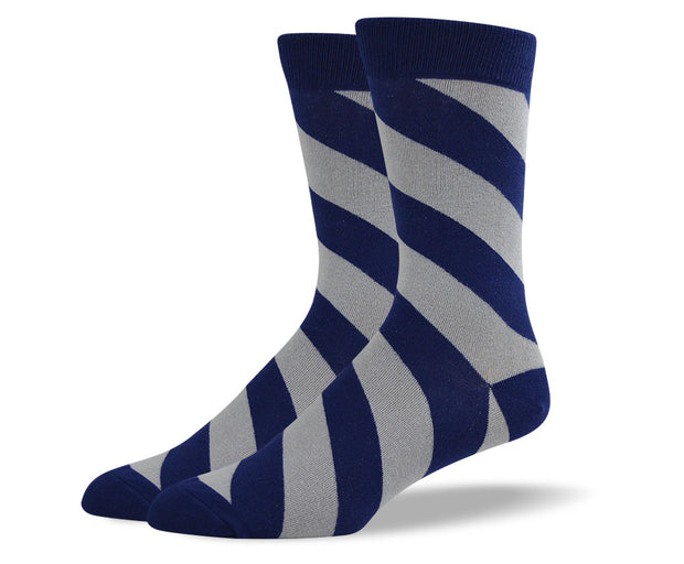 Men's Navy Diagonal Striped Socks