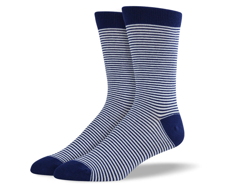 Men's Navy Thin Striped Socks