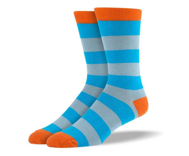 Men's Light Blue Big Stripes Socks