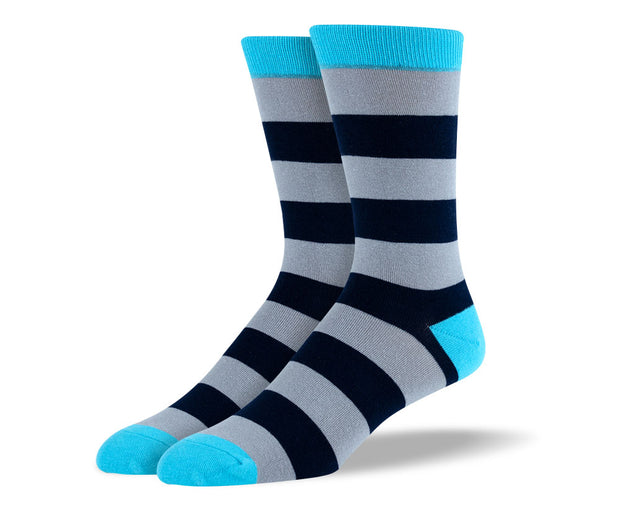 Men's Blue & Grey Stripes Socks