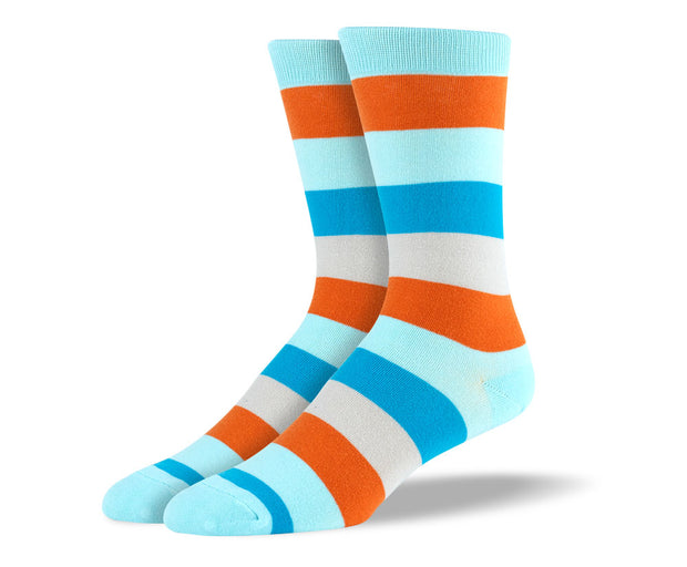 Men's Blue & Orange Stripes Socks