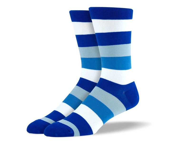 Men's High Quality Blue & White Stripes Socks