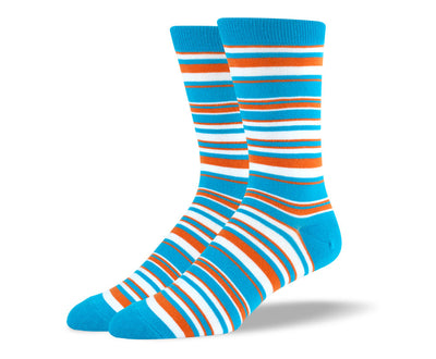 Men's Light Blue Thin Stripes Socks