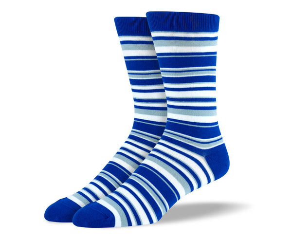 Men's Blue & White Thin Stripes Socks