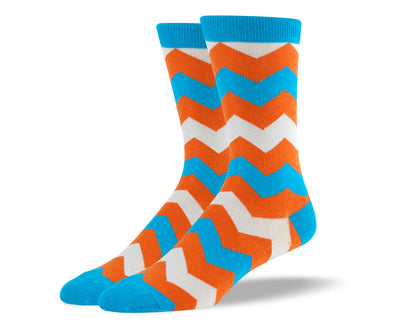 Men's Blue & Orange Zig Zag Stripes Socks