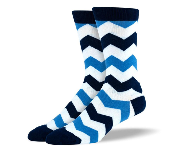 Men's Novelty Blue & White Zig Zag Stripes Socks