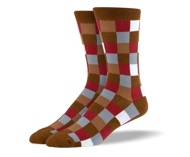 Men's Brown & Red Square Socks