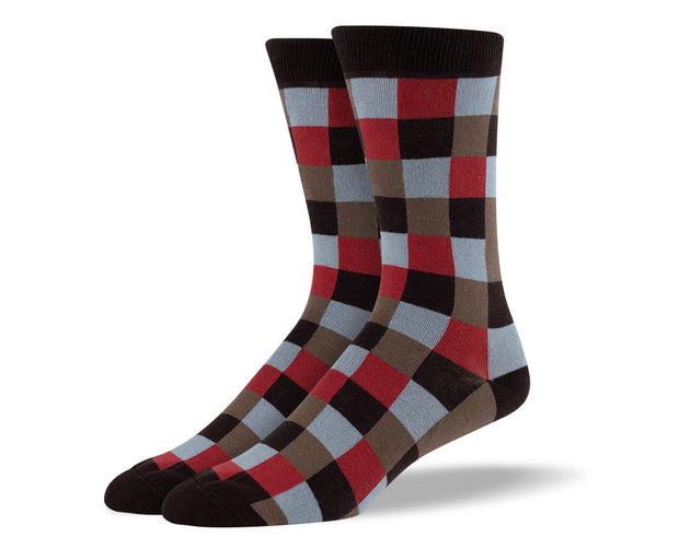 Men's Brown & Black Square Socks