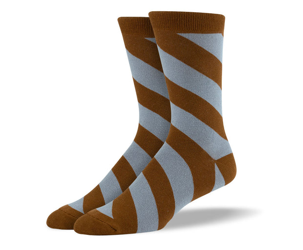 Men's Brown Diagonal Stripes Socks