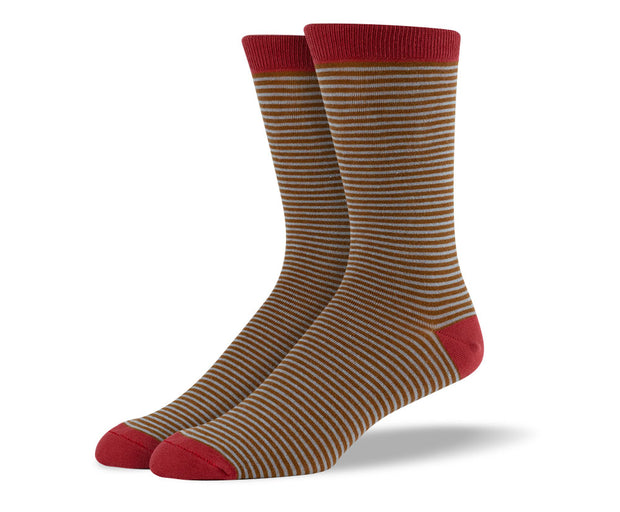 Men's Brown & Red Thin Stripes Socks