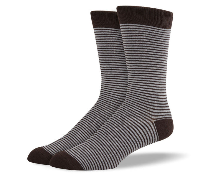 Men's Dark Brown Thin Stripes Socks