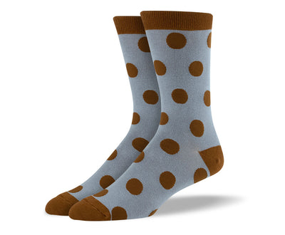 Men's Brown Big Dots Socks
