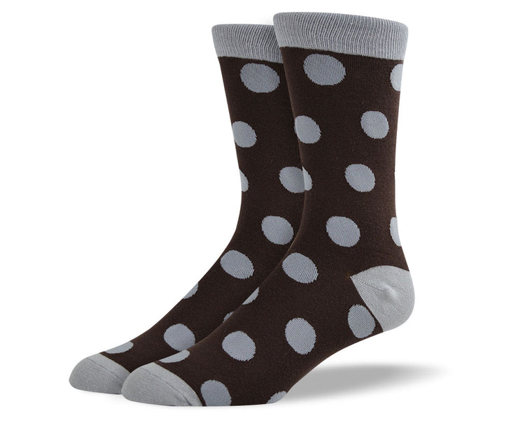 Men's Dark Brown Big Dots Socks