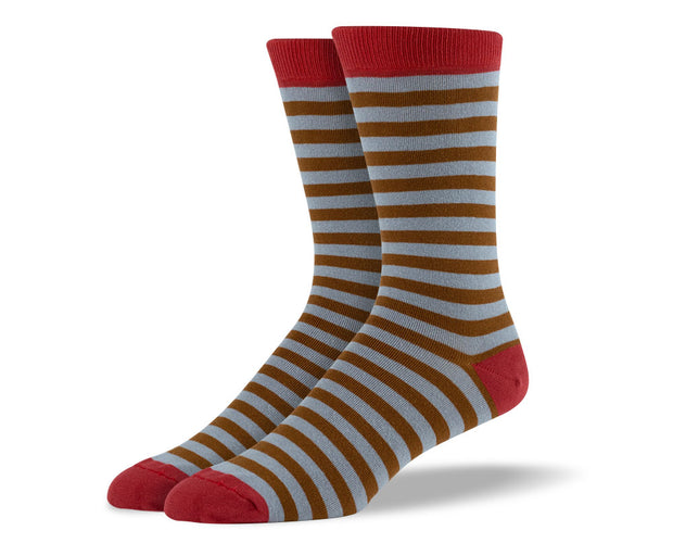 Men's Brown & Red Stripes Socks