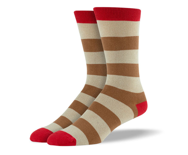 Men's Brown Thick Stripes Socks