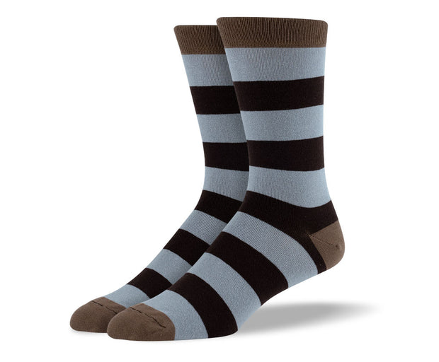 Men's Dark Brown Thick Stripes Socks