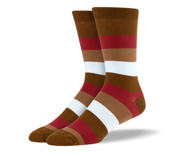 Men's Brown & Red Thick Stripes Socks